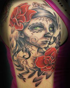 Sugar Skull Girl Tattoo by Joshua Hansen - Living Art, Sioux City, IA