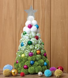 Jemima Schlee's gorgeous festive tree (from her book A Very Pompom Christmas) . - Jemima Schlee's gorgeous festive tree (from her book A Very Pompom Christmas) combines traditiona - Christmas Pom Pom Crafts, Christmas Projects, Holiday Crafts, Christmas Crafts, Christmas Ornaments, Christmas Christmas, Christmas Tree Festival, Crochet Christmas, Pom Poms