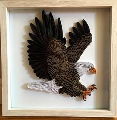 "Quilled Bald Eagle by Sara Duplain.  Quilling.  paper art.  1/2"" strips"