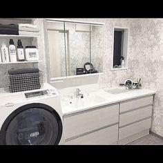 Bathroom/無印良品/収納/DIY/脱衣所/ニトリ...などのインテリア実例 - 2017-01-12 09:05:43 Stacked Washer Dryer, Washer And Dryer, Washroom, Double Vanity, Washing Machine, Laundry, Home Appliances, Deco, Interior