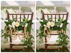 Bride and Groom Wedding Chair Signs - Rustic Wedding Wooden Chair Sign Set of 2