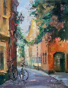 A Street In Sweden  Mary Maxam  oil