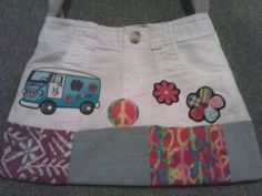 Hippie Upcycled Jean Bag Flower VW Van by MommaHippieCreations, $25.00