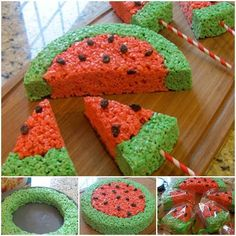 Watermelon Rice Krispies Treats - Scrumptious classic Rice Krispies treats shaped like watermelon. A SNAP to make & perfect for a Summer picnic! Rice Crispy Treats, Krispie Treats, Reis Krispies, Festa Party, Summer Treats, Fall Treats, Party Treats, Creative Food, Creative Ideas