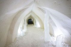 Corridor of Arctic Snowhotel in Rovaniemi in Lapland - Arctic Snowhotel & Glass Igloos Rovaniemi Lapland Finland, Corridor, Arctic, Northern Lights, Photo Galleries, Snow, Photo And Video, Videos, Glass