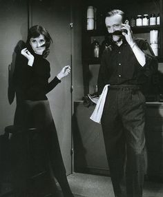Audrey Hepburn & Fred Astaire with moustaches.