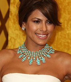 eva mendes turquoise necklace | Life truly is a Wonderful Journey