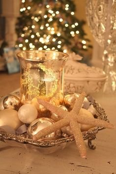 Add starfish to your Christmas centerpiece for the perfect coastal touch!