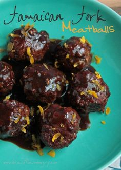 Jamaican Jerk Meatballs (low carb and gluten free) from ibreatheimhungry.com