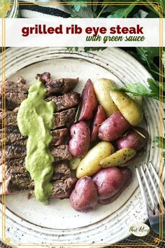 Treat your loved ones to a delicious grilled rib eye steak with a tangy green sauce. Perfect for romantic dinners, busy weeknights or any time you want a nice steak. how to grill steak | easy green sauce | grilling recipes | Valentine's Day | date night recipes #beefrecipes #romanticdinners #ourfamilytable Rib Eye Recipes, Steak Recipes, Easy Dinner Recipes, Picnic Recipes, Supper Recipes, Acid Reflux Recipes, Ribs On Grill, Juicy Steak, How To Cook Steak