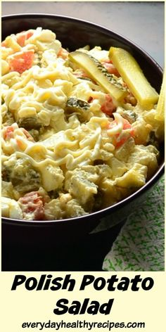 This Polish Potato Salad is a traditional Polish recipe, a firm family favourite and popular all year round. It's great as an everyday recipe as well as special occasion dish to enjoy with family and friends. #polishfood #polishrecipes #potatosalad #easyrecipe #partyfood #healthyrecipes #appetizers #mayo #healthycomfortfood #EverydayHealthyRecipes