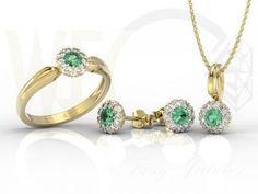 Zestaw: pierścionek kolczyki i wisiorek ze szmaragdami i diamentami niami AP-42ZB - e-szoping.pl - szoping, dla dzieci, dla niej, dla niego, shopping