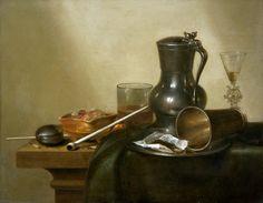 W. Claes Heda.  Nature morte avec tabac, vin et montre de gousset