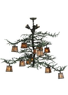 15 light chandelier 48w pine branch valley view 12 lt wuplights - Lighting Stores In Houston Tx