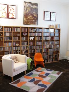 Music-Minus the fruity furniture and posters I like this. Framed concert posters and with records and tapes...