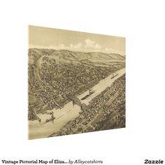 Vintage Pictorial Map of Elizabeth PA (1897) Canvas Print