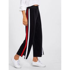 f1b1ef78de Split Striped Side Wide Leg Pants