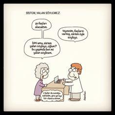 Tıbbi karikatür, eczacı, ilaç ve de sistem.