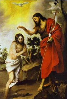 """John Baptizes Jesus. BIBLE SCRIPTURE: Matthew 3:16, """"And Jesus, when he was baptized, went up straightway out of the water: and, lo, the heavens were opened unto him, and he saw the Spirit of God descending like a dove, and lighting upon him:"""""""