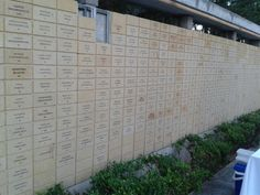 The wall of donators of Athens College... Every brick is a 1000$ donation...