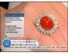 20.09 ct Sardinian Coral & 3.76 ctw Diamond 18K White Gold  Ring, Size 6.00 (17.70 gram weight)