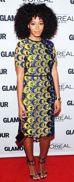 Solange Knowles' print power in a Derek Lam dress and Guiseppe Zanotti sandals...and I will always live for a 'fro!