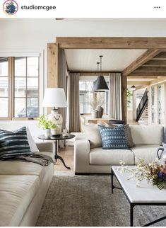 SM Ranch House: The Living Room - - A big, cozy, rustic living space! Home Living Room, Living Room Furniture, Living Room Designs, Living Room Decor, Living Spaces, Bedroom Decor, Small Living, Blue Living Room Chairs, Modern Living