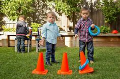 Construction Birthday Party Planning Ideas Supplies Idea Cake Ring toss with construction cones