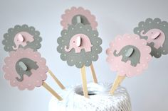 Pink and Grey Elephant Cupcake Toppers Qty 12--Baby Shower--Birthday Party