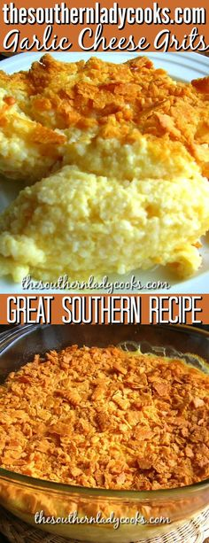 Garlic Cheese Grits are wonderful and my family requests them every Thanksgiving and Christmas. Southerners love their grits and this recipe is delicious. Garlic Cheese Grits Recipe, Baked Cheese Grits Recipe, Breakfast Dishes, Breakfast Recipes, Dinner Recipes, Brunch Recipes, Easy Delicious Recipes, Yummy Food, Tasty