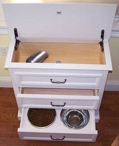Food Is Easily Access And Scooped From Hinged Top. Middle Drawer For  Leashes, Treats, Etc. Bottom Drawer Is Food And Water Bowl. Probably Remove  Water Bowl ...