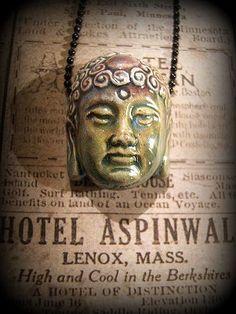 Ceramic 1 inch Buddha head  pendant  on 24 by jenuineserendipity, $10.50