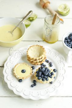 Lime Tartelettes with Blueberries- Almond Corner