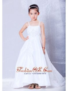 Low Price White A-line Straps Appliques Flower Girl Dress Court Train Taffeta  http://www.fashionos.com  Every mom want to make their girl looks beautiful, this is just the one that can accentuates your little pageant darling's best qualities. This gorgeous little girl dress is sure to turn heads on any occasion! It features spaghetti strapped bodice that's moderately embellished with lovey beads.