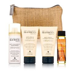 Alterna Bamboo Smooth On The Go Travel Kit by Alterna. $26.00. Improves the overall look and feel of your hair.. Style On The GoSmooth On The Go Travel Kit is a 4-in-one kit. It contains an anti-frizz shampoo, conditioner, smooth kendi pure treatment oil and anti-humidity hair spray. Organic bamboo extract Makes hair frizz free Eco-certifiedLocks moistureSmooth On The Go Travel Kit has a shampoo that cleans and smoothens your hair. It has a conditioner to make your hair soft ...