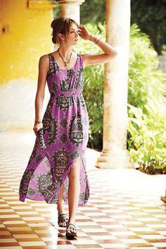 Anthropologie-Maeve-Medium-Silk-Purple-Boho-Peasant-Tribal-Maxi-Dress-RN-66170