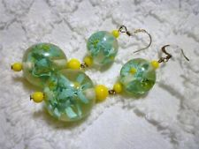 Unique Reverse Carved LUCITE Flowers BIG BALL Pierced Dangle Earrings; how do they do that?