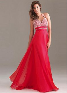 Classic Chiffon Long Halter Red Prom Dress / Gown