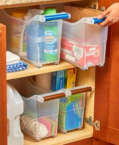 Organize your bathroom and kitchen cabinets, pantry, closets and more with a Space-Saving Rolling Storage Bin. The large, clear compartment has 4 wheels and 2 handles, making it easy to pull out to… Organisation Hacks, Bathroom Organization, Bathroom Storage, Kitchen Storage, Deep Pantry Organization, Medicine Cabinet Organization, Food Storage, Pantry Storage, School Organization