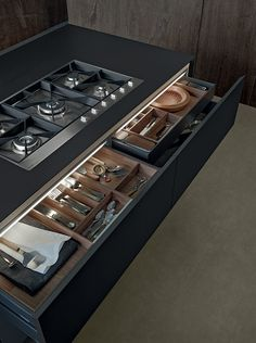 Cajones con iluminación #diseño #cocinas #modernas