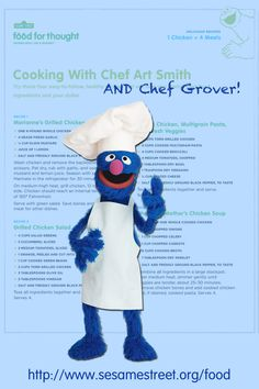 Love chicken? Want to save money? Parents, try these 4 cool, inexpensive, & easy-to-make chicken recipes with your kids from Chef Art Smith--and it looks like Chef Grover has tagged along too. Download these recipes and more: http://www.sesamestreet.org/food #meal #snack #healthy