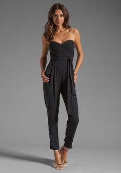 so GORGE - Catherine Malandrino Black Strapless Jumpsuit