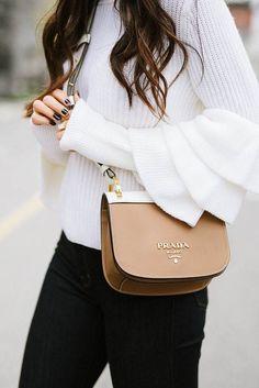 Trendy Women's Purses : Prada bag + bell sleeves Fall Handbags, Cheap Handbags, Prada Handbags, Luxury Handbags, Fashion Handbags, Fashion Bags, Leather Handbags, Men Fashion, Designer Handbags