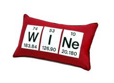 Wine Periodic Table Embroidered Pillow