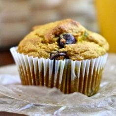 Whole Grain Chocolate Chip Pumpkin Muffins - healthy enough for breakfast, sweet enough for dessert!