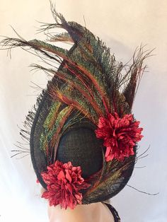 Excited to share this item from my shop: Black peacock fascinator black red floral fascinator unique headpieces red flower fascinator headpiece unique headpiece,fascinator Floral Fascinators, Material Flowers, Black Fascinator, White Headband, Peacock Feathers, Corsages, Small Flowers, Headpieces, Grapevine Wreath