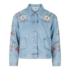 TopShop Moto Embroidered Jacket ($80) ❤ liked on Polyvore featuring outerwear, jackets, embroidered jacket, floral jean jacket, oversized jean jacket, blue denim jacket and blue cotton jacket