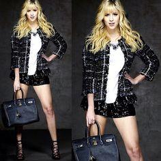 Chanel Blazer, Wagner Kalieno Top, H Shorts, Hermës Purse, Schutz Shoes