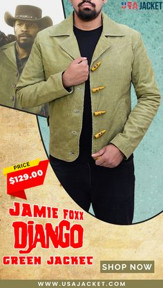 Get your Django Jacket for winters that is introduced by Jaime Foxx. Green Jacket, Military Jacket, Shop Now, Gray Color, Blazer, Coat, Jackets, Shopping