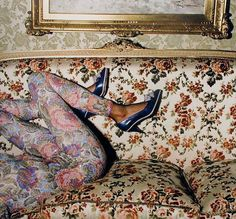 floral catsuit...the shoes with current heels... camouflage (by Guy Bourdin)
